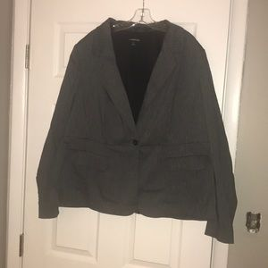 Gray pinstripe peplum suit jacket